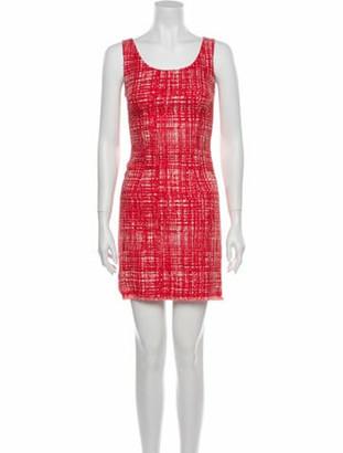 Prada Plaid Print Mini Dress Red