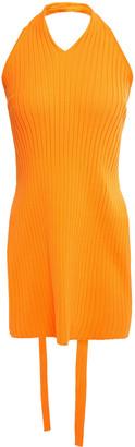 Tibi Cutout Ribbed-knit Halterneck Top