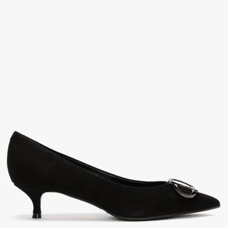 Daniel Elissa Black Suede Kitten Heel Court Shoes