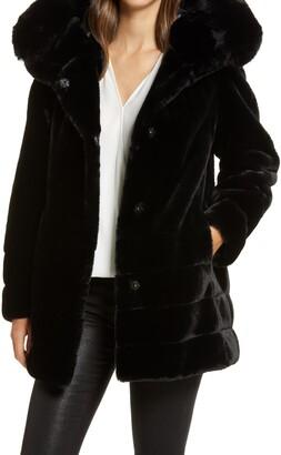 Gallery Hooded Faux Fur Coat