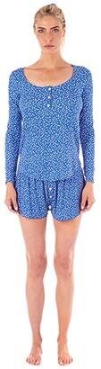 Plush Ultra Soft Floral Pajama + Scrunchie Set (Blue) Women's Pajama Sets