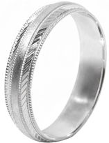 JCPenney FINE JEWELRY Mens 10K White Gold 5mm Engraved Wedding Band