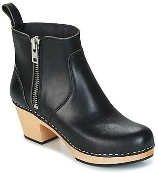 Swedish Hasbeens ZIP IT EMY women's Low Ankle Boots in Black