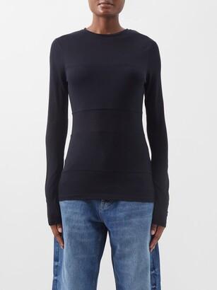 Raey Double-panel Long-sleeved Sheer T-shirt - Womens - Navy