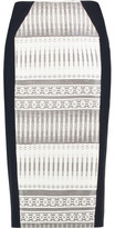 Amanda Wakeley Stretch Knit-Paneled Jacquard Pencil Skirt