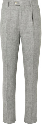 Brunello Cucinelli Grey Slim-Fit Melange Linen, Wool And Silk-Blend Suit Trousers