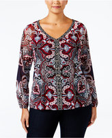 INC International Concepts Plus Size Lace-Up Printed Top, Only at Macy's
