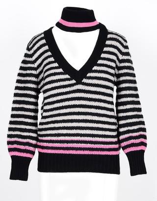 Lamberto Losani Black/Beige Striped Cashmere and Silk Blend Women's Sweater