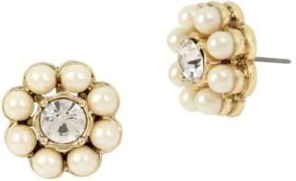 Miriam Haskell Pearl Flower Stud Earrings