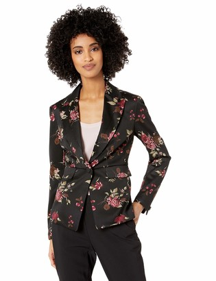 Nine West Women's 1 Button Notch Collar Printed Scuba Crepe Jacket