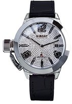 U-Boat Classico 40 SS Pave Diamond Women's Automatic Watch with White Dial Analogue Display and Black Strap 6979.0