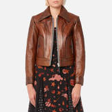 Coach Women's Landscape Leather Jacket Dark Teak