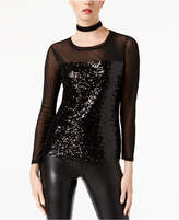 INC International Concepts Sequin-Embellished Illusion Top, Created for Macy's