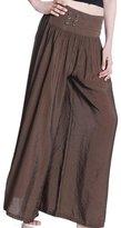 DEHANG Women Casual Light Soft Elastic Waist Silk Floss Linen Trousers Culottes