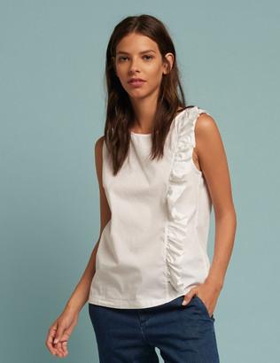 European Culture White Side Frill Cotton Top - white | Small (UK 10) | cotton - White/White