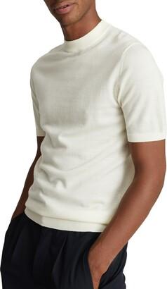 Reiss Tilby Short Sleeve Mock Neck Wool Sweater