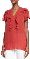 Etro Flutter-Sleeve V-Neck Blouse, Red