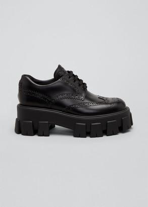 Prada Leather Lugged-Sole Oxford Oxfords