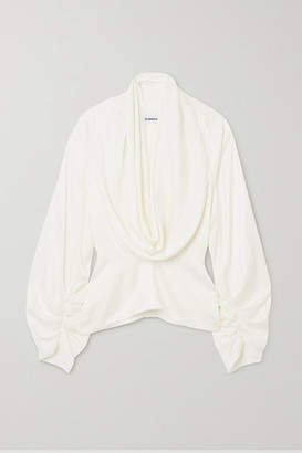 LADO BOKUCHAVA Draped Satin Blouse - White
