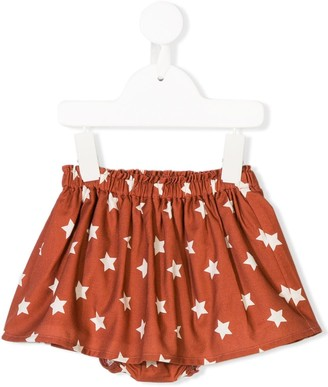 Knot Star Print Pleated Skirt