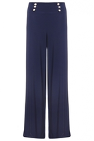 Quiz Navy Silver Button Palazzo Trousers