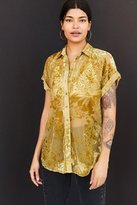 Ecote Anora Floral Burnout Velvet Button-Down Shirt