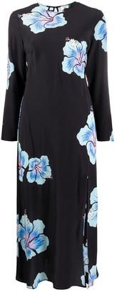 Rixo Floral Print Long-Sleeve Maxi Dress