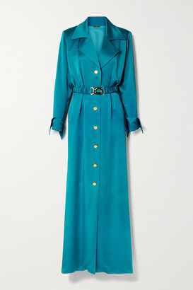 Dodo Bar Or Tamara Belted Satin Maxi Shirt Dress - Teal