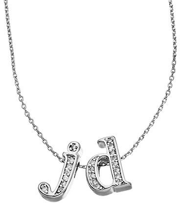 CZ 2 Letter Initial Pendant Necklace