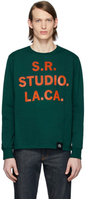 S.R. STUDIO. LA. CA. Green S.R.S. Logo and Vampire Sunrise Basic Long Sleeve T-Shirt
