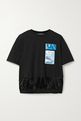 Helmut Lang Appliqued Cotton-jersey And Satin T-shirt