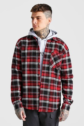 boohoo Mens Red Long Sleeve Check Overshirt With Back Embroidery, Red