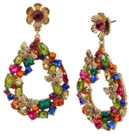 Betsey Johnson Butterfly Stone Cluster Gypsy Hoop Earrings