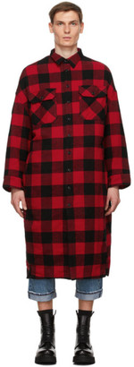 R 13 Red and Black Check Long Overshirt Coat