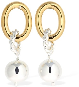 Chunky Hoop & Loop Earrings W/ Pearl