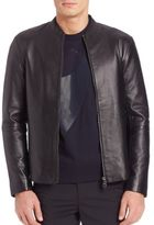 Emporio Armani Long-Sleeve Leather Jacket