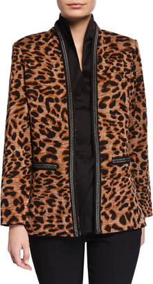 Misook Leopard-Print Jacket with Chain Detail