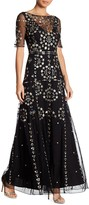French Connection Short Sleeve Embroidered Maxi Dress