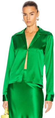 BERNADETTE Bill Silk Satin Shirt in Emerald | FWRD