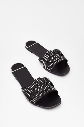 Nasty Gal Womens Stud Never Look Back Faux Leather Flat Sandals - Black - 3