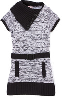 Pink Angel Black & White Belted Split-Neck Dress - Infant Toddler & Girls