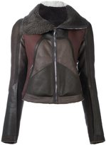Rick Owens panelled jacket - women - Cotton/Calf Leather/Lamb Skin/Lamb Fur - 42