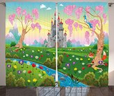 Cartoon Decor Curtains by Ambesonne, Fairy Tale Castle Scenery in Floral Garden Princess Kids Girls Fantasy Picture, Living Room Bedroom Window Drapes 2 Panel Set, 108W X 63L Inches, Multi