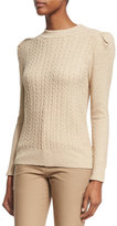 Co Metallic Cable-Knit Puff-Sleeve Sweater