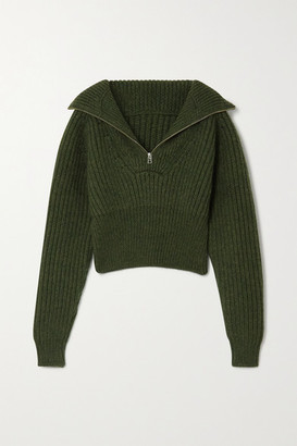 Jacquemus Olive Cropped Ribbed Wool-blend Sweater