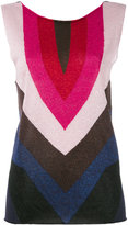 Circus Hotel low back chevron tank - women - Viscose/Polyester - M