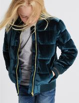 Marks and Spencer Zipped Through Velvet Bomber Jacket (3-14 Years)