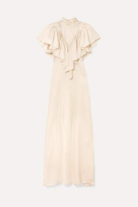 Preen by Thornton Bregazzi Imogene Bow-detailed Satin-jacquard Maxi Dress - Ivory