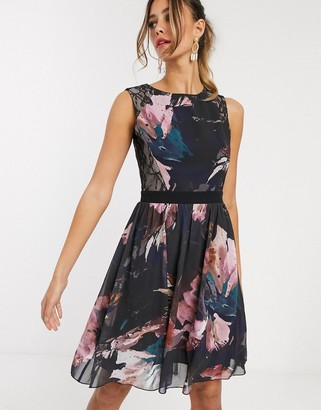 Little Mistress floral high neck skater dress