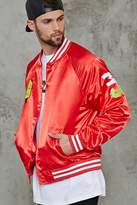 Forever 21 Patched Satin Baseball Jacket